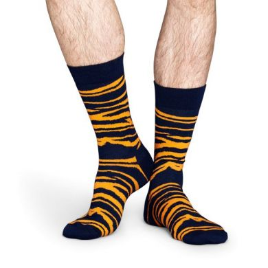 Modro-oranžové ponožky Happy Socks se vzorem Zebra