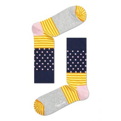 Modro-šedé ponožky Happy Socks s barevným vzorem Stripe Dot