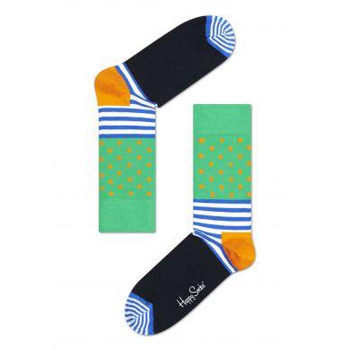 Zeleno-černé ponožky Happy Socks s barevným vzorem Stripe Dot