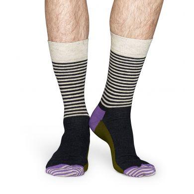 Béžové ponožky Happy Socks s šedými proužky, barevný vzor Half Stripe