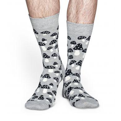 Šedé ponožky Happy Socks s černobílými houbičkami, vzor Shroom