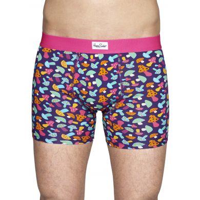 Fialové boxerky Happy Socks s barevnými houbičkami, vzor Shroom