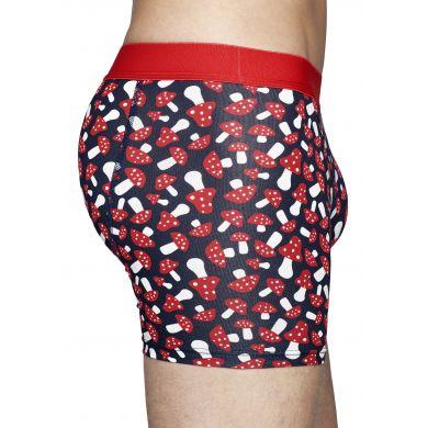 Modré boxerky Happy Socks s červenými houbičkami, vzor Shroom
