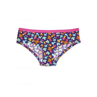 Fialové kalhotky Happy Socks s barevnými houbičkami, vzor Shroom