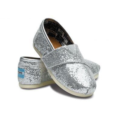 Dětské stříbrné TOMS Tiny Alpargata