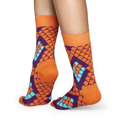 Oranžové ponožky Happy Socks s hadím vzorom Snake