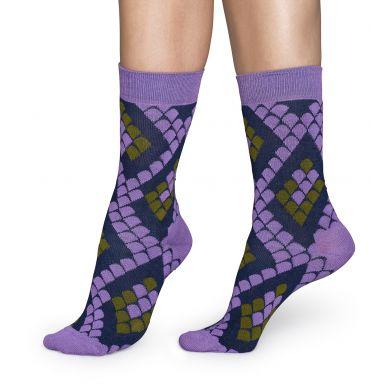 Fialové ponožky Happy Socks s hadím vzorem Snake