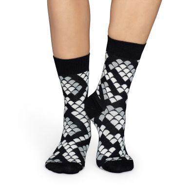 Černobílé ponožky Happy Socks s hadím vzorem Snake