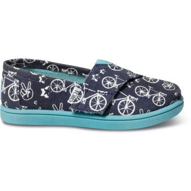 Dětské modré TOMS Peace n bikes Tiny Alpargata