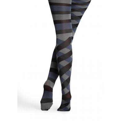 Šedo-modré punčocháče Happy Socks s pruhy