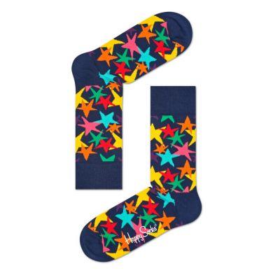 Modré ponožky Happy Socks s farebnou hviezdou, vzor Stars