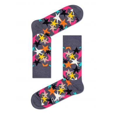 Šedé ponožky Happy Socks s barevnými hvězdami, vzor Stars