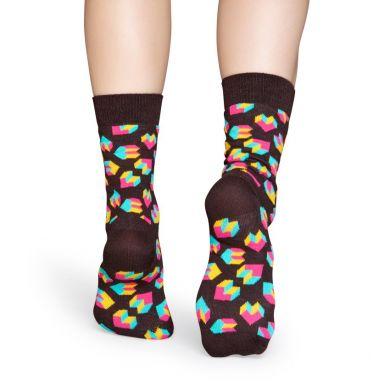 Hnedé ponožky Happy Socks s farebným vzorom Steps