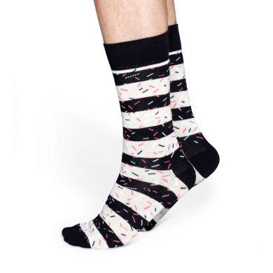 Černobílé pruhované ponožky Happy Socks, vzor Stripe