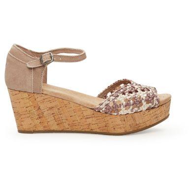 Hnědé dámské saténové sandálky na klínku TOMS