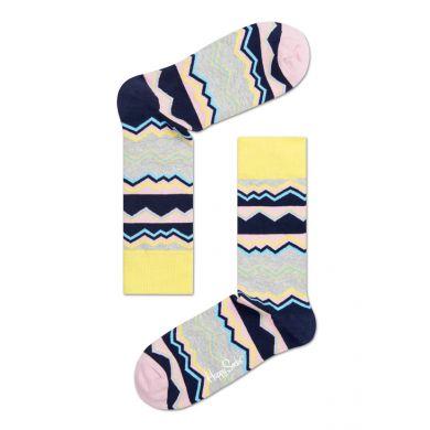 Šedivé ponožky Happy Socks s barevným vzorem Techno