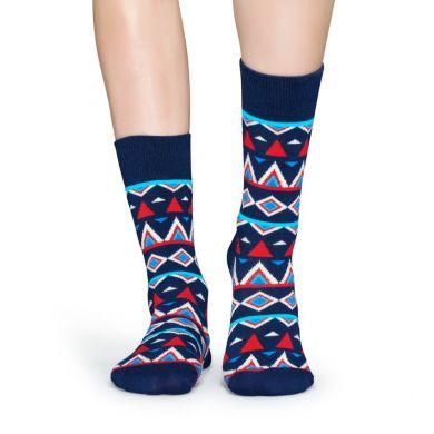 Modré ponožky Happy Socks s farebným vzorom Temple