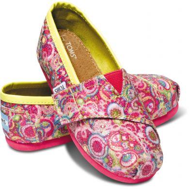 Dětské růžové TOMS Paisley Glitter Tiny Alpargatas