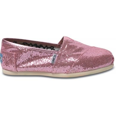 Růžové dámské TOMS Glitter Alpargata