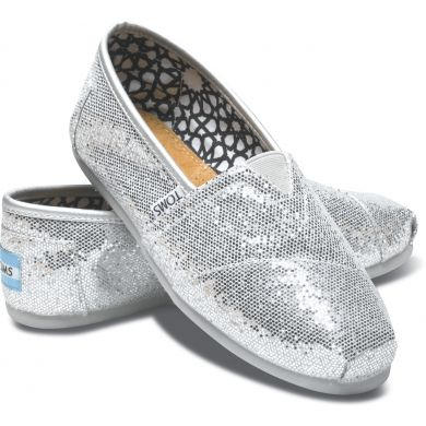 Stříbrné dámské TOMS Glitter Alpargata