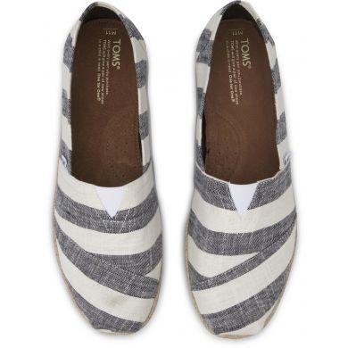 Bílo-šedé dámské pruhované TOMS Stripe Alpargata