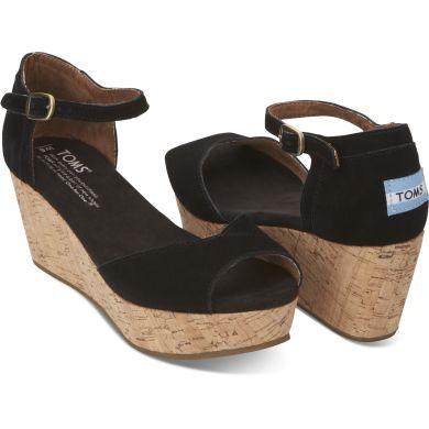 Černé dámské semišové sandálky na klínku TOMS
