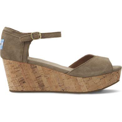 Šedé dámské semišové sandálky na klínku TOMS