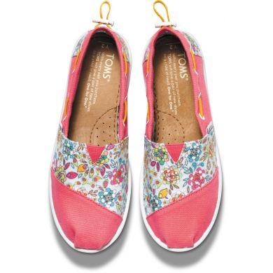 Dětské růžové TOMS Floral Youth Biminis