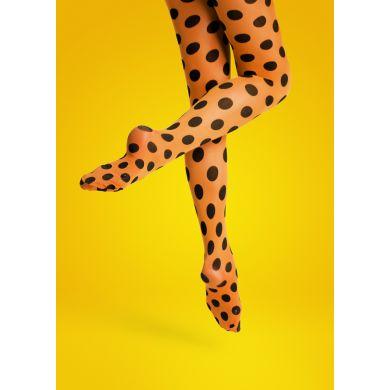 Oranžové punčocháče Happy Socks s hnědými puntíky