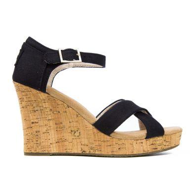 Černé dámské sandálky na klínku TOMS