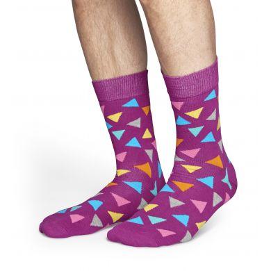 Fialové ponožky Happy Socks s barevnými trojúhelníky, vzor Triangle