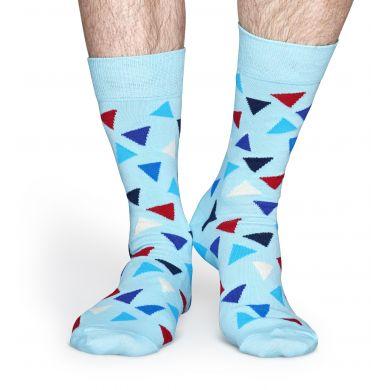 Tyrkysové ponožky Happy Socks s barevnými trojúhelníky, vzor Triangle