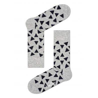 Šedé ponožky Happy Socks s černými trojúhelníky, vzor Triangle