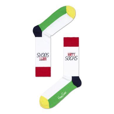 Barevné ponožky Happy Socks Tennis s bílým základem
