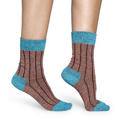 Oranžové vlněné ponožky Happy Socks, vzor Wool Two Color