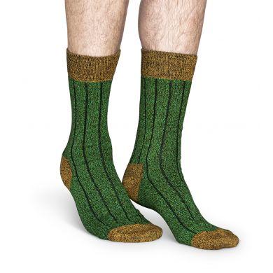Zelené vlněné ponožky Happy Socks, vzor Wool Two Color