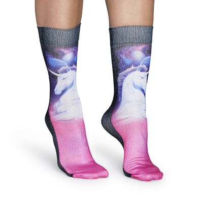 Růžové ponožky Happy Socks s jednorožci, Unicorn print // kolekce Special Special