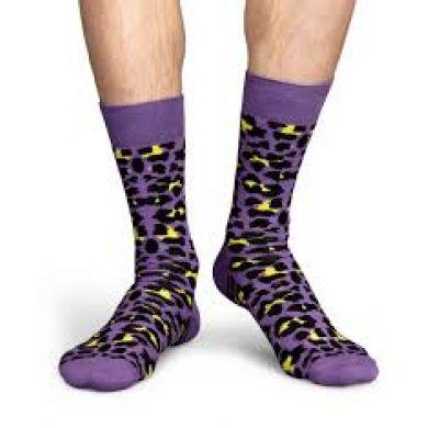 Fialové ponožky se žlutým vzorem Leopard