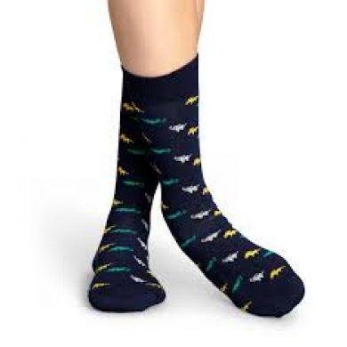 Modré ponožky Happy Socks s barevnými zvířátky, vzor Jungle