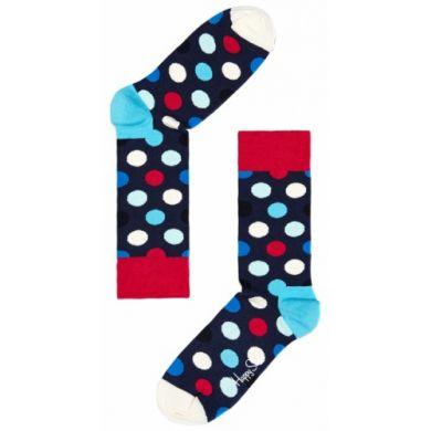 Modrošedé ponožky Happy Socks s barevnými puntíky, vzor Big Dot