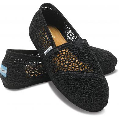 Černé dámské TOMS Crochet Alpargata