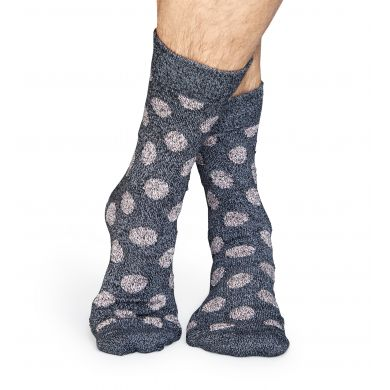 Šedé vlnené ponožky Happy Socks s šedými bodkami, vzor Big Dot