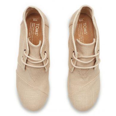 Béžové dámské boty na klínku TOMS