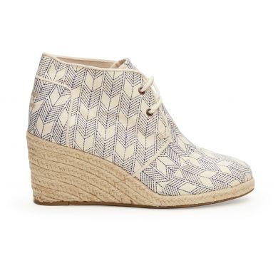 Bílé dámské boty na klínku TOMS s japonským vzorem