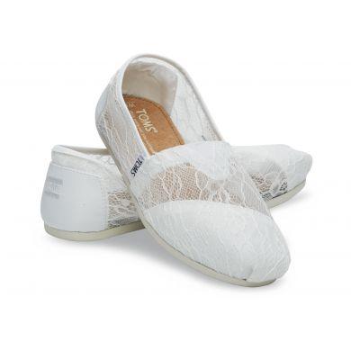 Bílé krajkové TOMS Alpargata