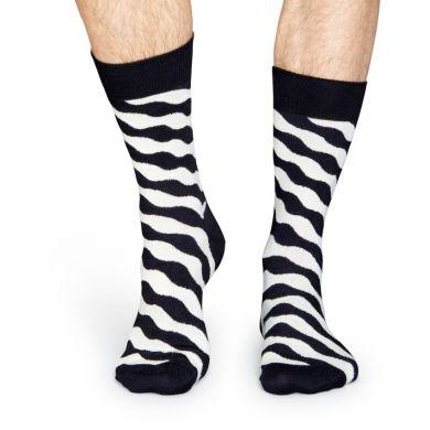 Čiernobiele ponožky Happy Socks se  vzorom Wave Polka