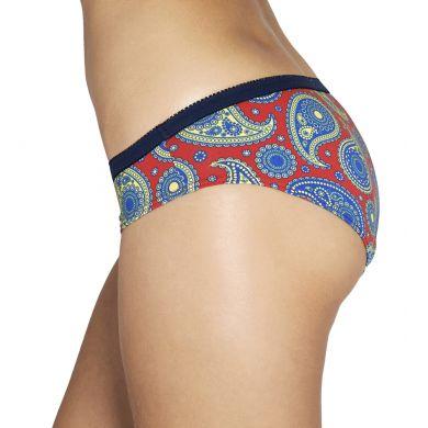 Červené kalhotky Happy Socks s modrým vzorem Paisley