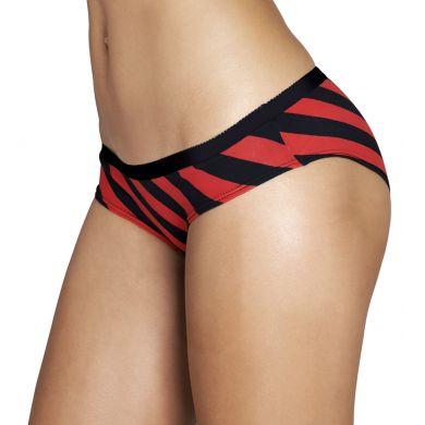 Červeno-černé pruhované kalhotky Happy Socks, vzor Polka