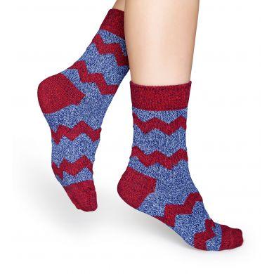 Modré vlnené ponožky Happy Socks s červenými zubatými pruhmi, vzor ZigZag Stripes