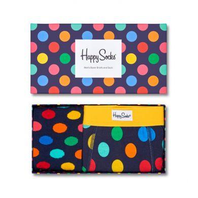Darčekový box ponožiek a boxeriek Happy Socks Combo Big Dot Blue - 2 páry